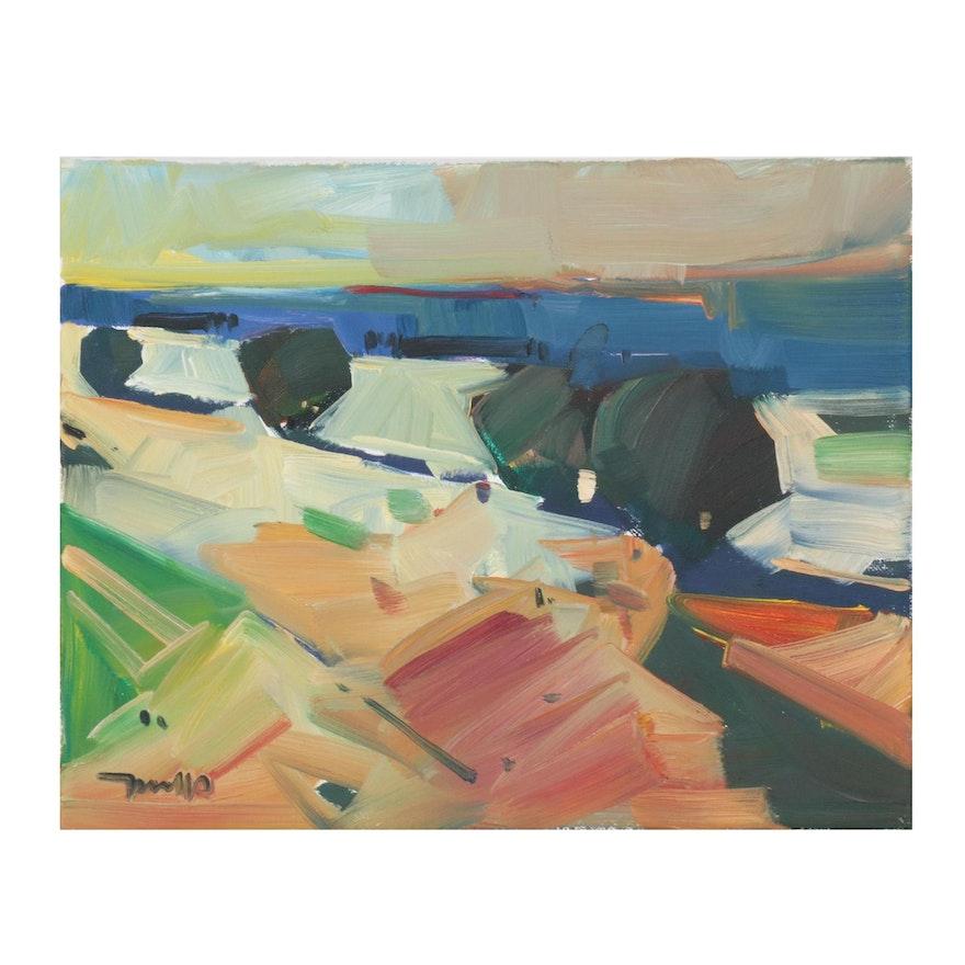 "Jose Trujillo Oil Painting ""Quiet Hills,"" 2020"