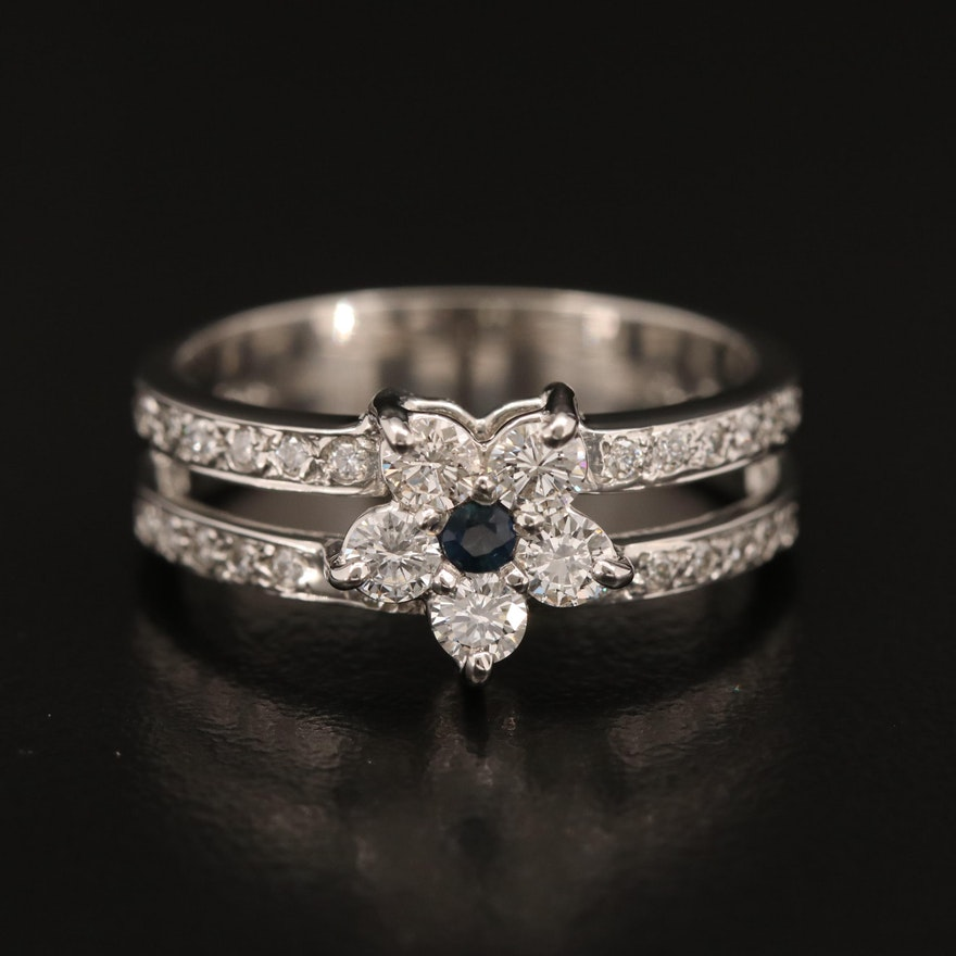 Platinum Sapphire and Diamond Flower Ring