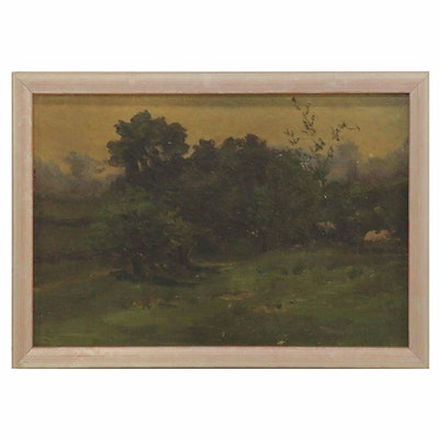 Oil Painting of a Rural Landscape, Late 19th-Early 20th Century