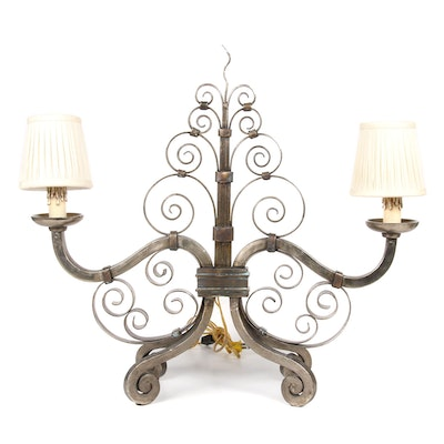 Verdigris and Bronzed Metal Scrolled Arm Table Lamp