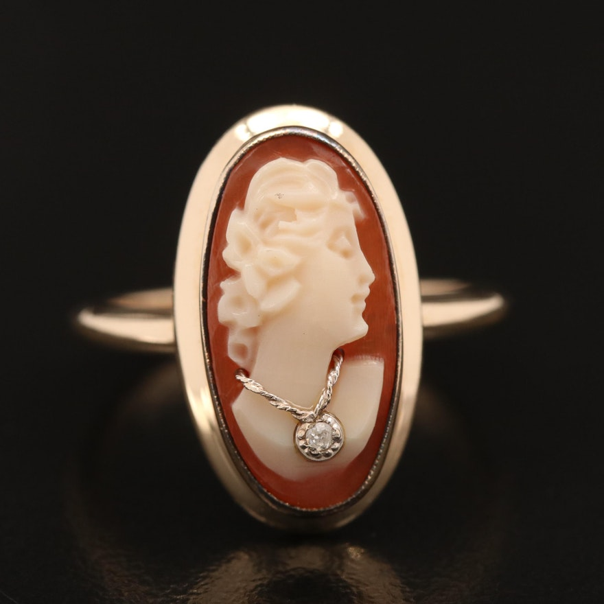 Vintage 10K Carved Shell Cameo and Diamond Habillé Ring