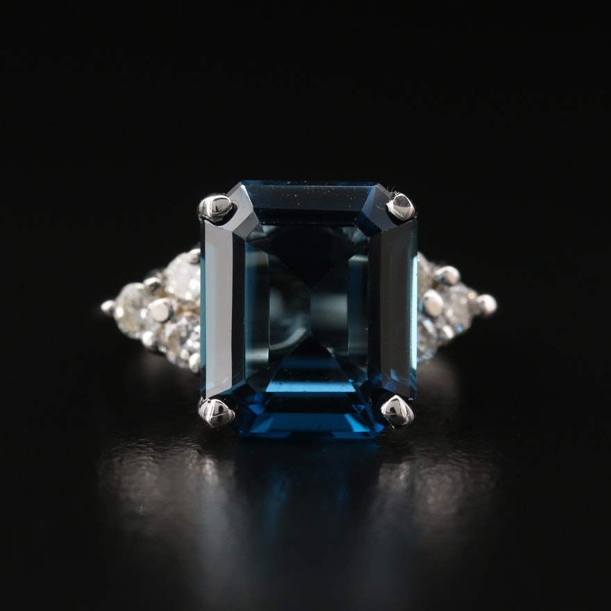 14K London Blue Topaz and Diamond Ring
