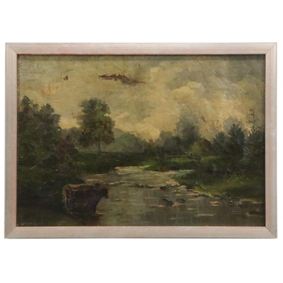 Landscape Oil Painting with Cows, Late 19th-Early 20th Century