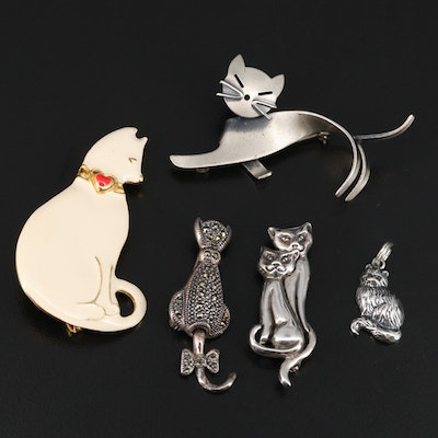 Selection of Sterling Enamel Cat Theme Pendants and Marcasite Cat Brooch