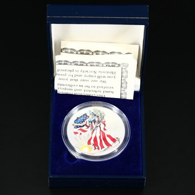 American Historic Society Colorized 1999 $1 American Silver Eagle Bullion Coin