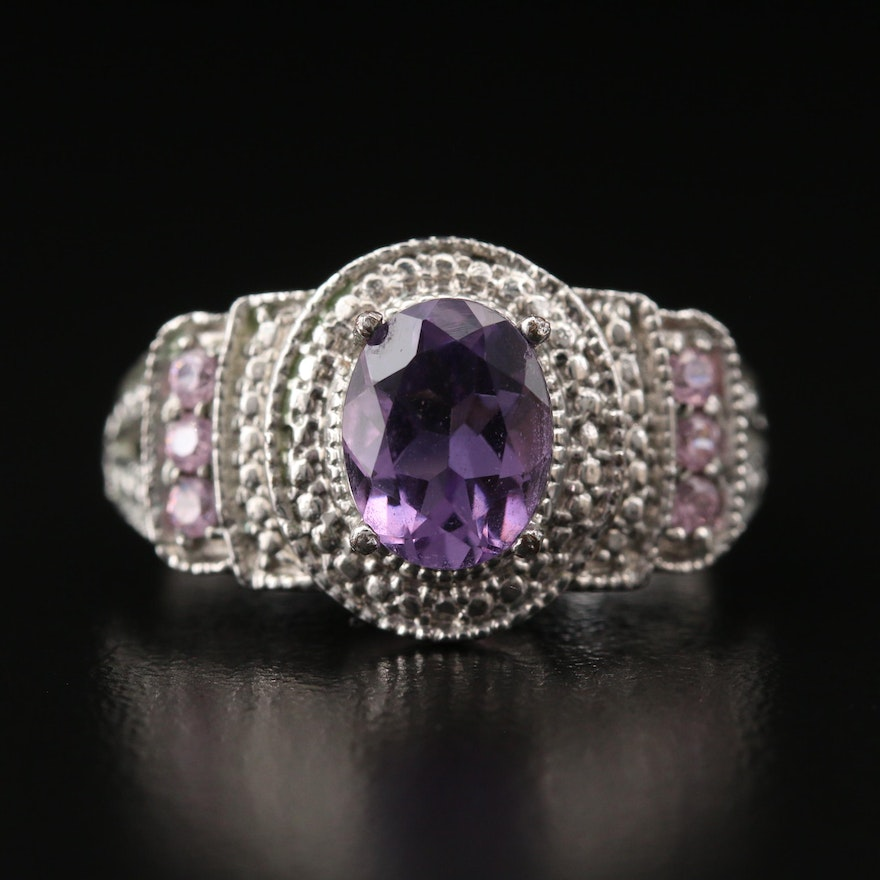 Amethyst and Cubic Zirconia Ring