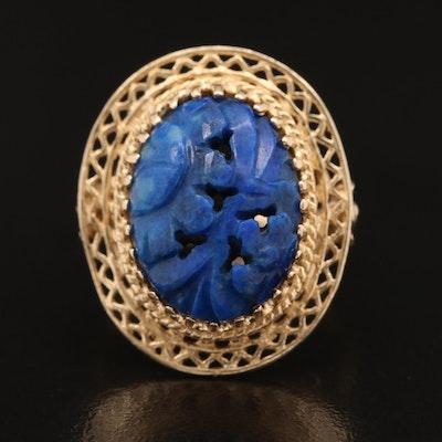 Vintage 14K Oval Carved Lapis Lazuli Ring