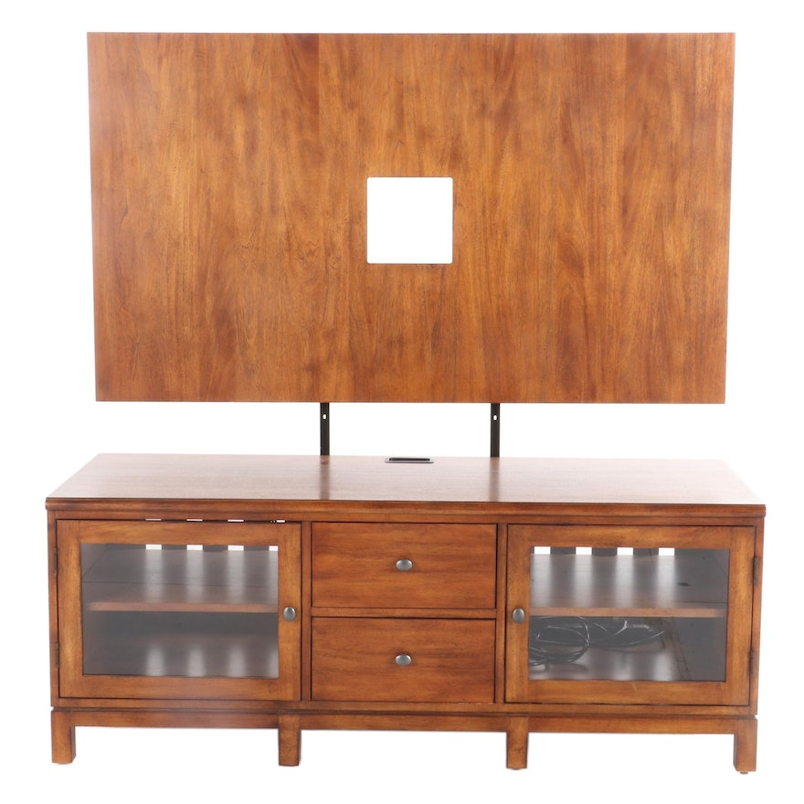 Ethan Allen Contemporary Walnut Media Console with Back Panel