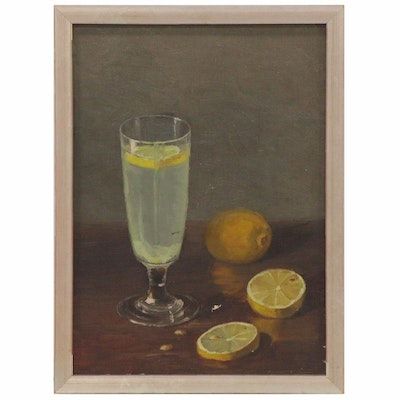 Still Life Oil Painting with Lemons and Lemonade, Early 20th Century