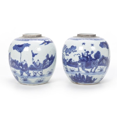 Chinese Blue and White Melon Jars