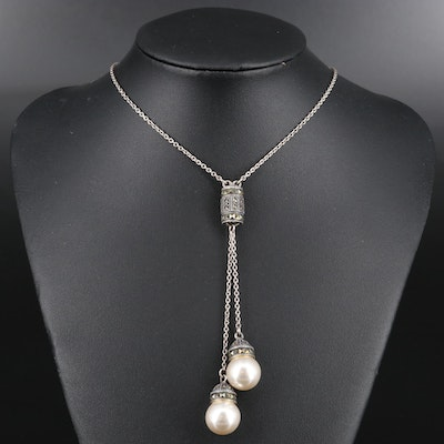 Sterling Silver Faux Pearl and Marcasite Lariat Style Necklace