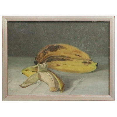 Still Life Oil Painting of Ripe Bananas, Early 20th Century