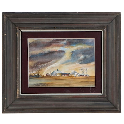 Robert Blair Watercolor Painting of a Tornado in a Rural Landscape, 20th Century