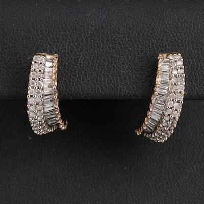 10K 1.21 CTW Diamond Half Hoop Earrings
