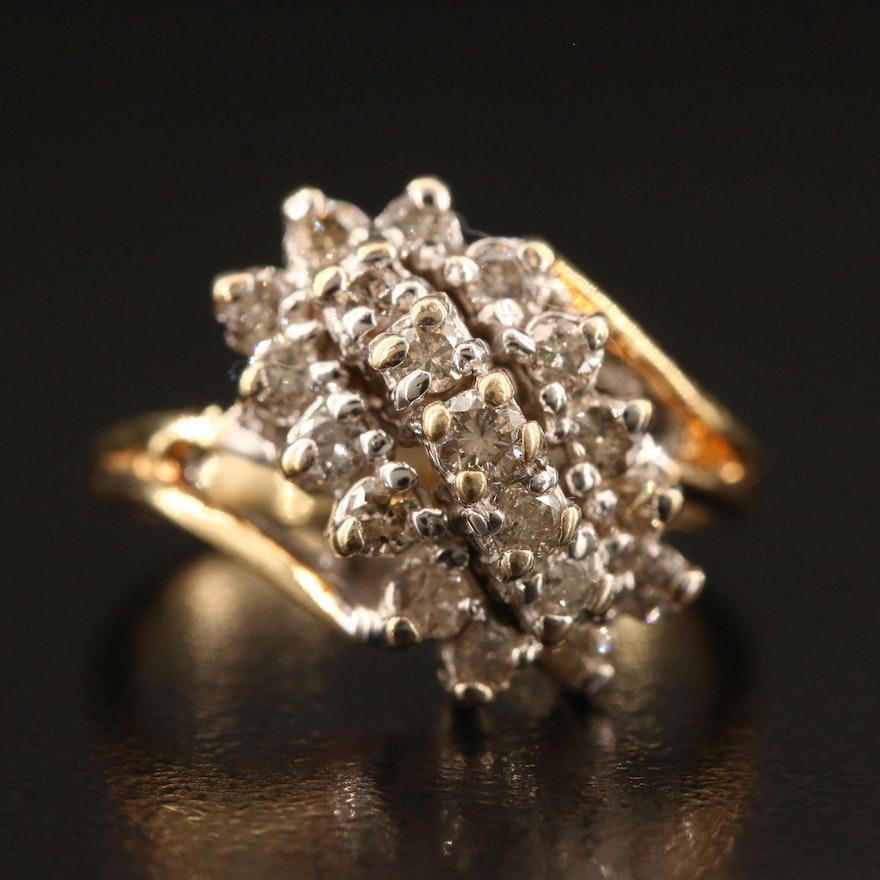 14K Diamond Waterfall Cluster Ring