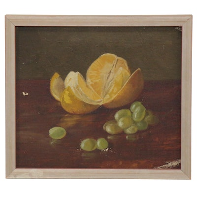 Still Life Oil Painting with an Orange and Grapes, Early 20th Century