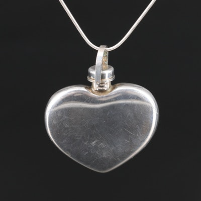 Tiffany & Co. Sterling Silver Heart Perfume Flask with Other Sterling Chain