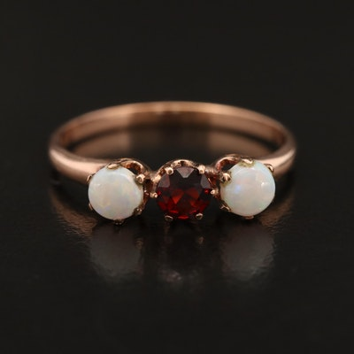 Victorian 10K Garnet and Opal Ring