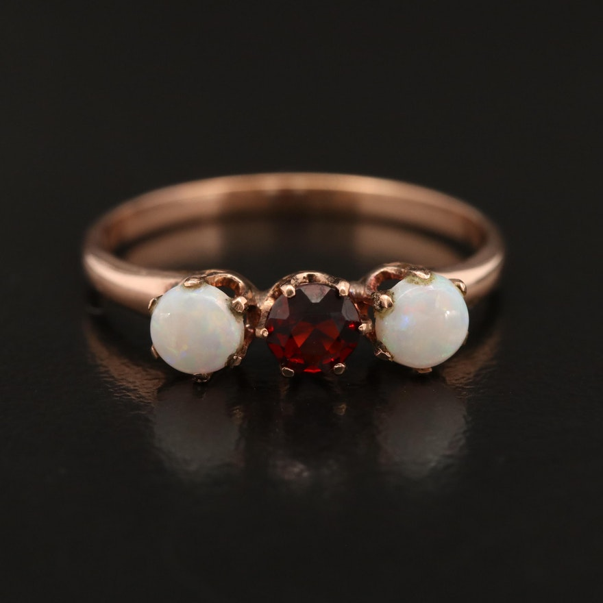 Victorian 10K Garnet and Opal Ring