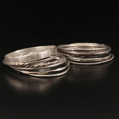 Stackable Sterling Silver Bangle Bracelets in Various Styles