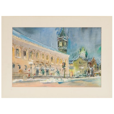 Charles Demetropoulos Cityscape Watercolor Painting