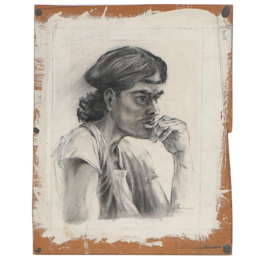 Ric Rylands Charcoal Figure Study, 20th Century