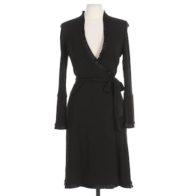 Diane Von Furstenberg Black Wrap Dress with Pleat Ruffle Trim
