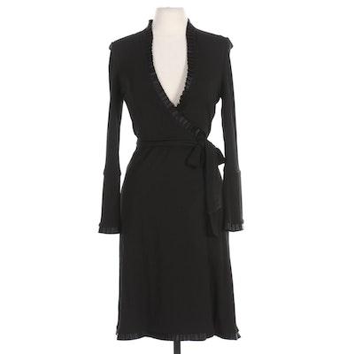 Diane Von Furstenberg Black Wrap Dress with Pleat Ruffle Trim
