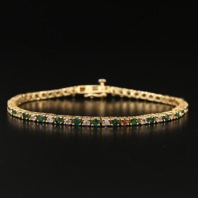 Sterling Silver Emerald and Topaz Line Bracelet