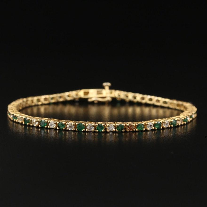 Sterling Silver Emerald and Topaz Line Bracelet
