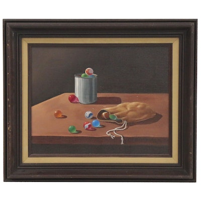 "Charlotte Armstrong Still Life Oil Painting ""Marbles,"" 1979"