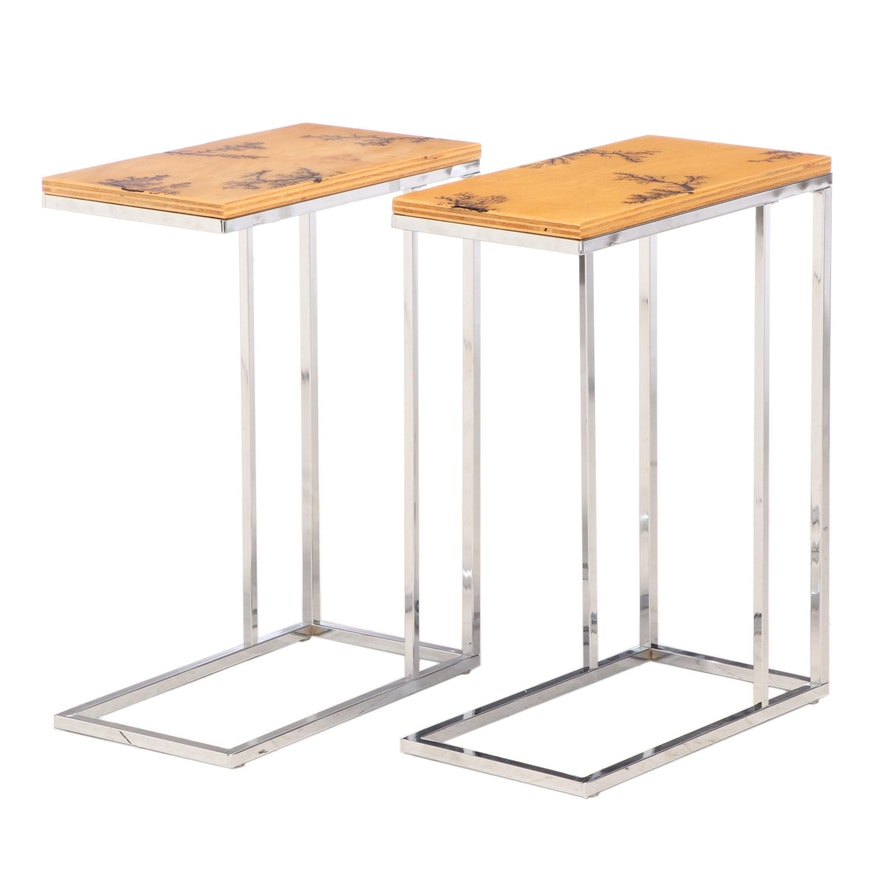 Pair of Custom Matt Meyung Oak Burned Design C Tables