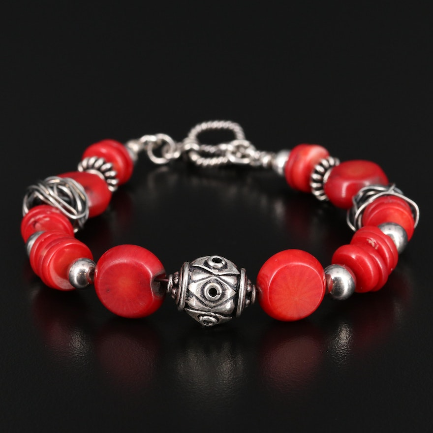 950 Silver Beaded Coral Bracelet with Sterling Silver Clasp