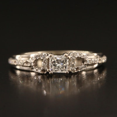 14K Diamond Buckle Motif Ring