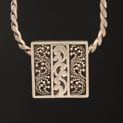 Lois Hill Sterling Filigree Scroll Square Pendant Necklace