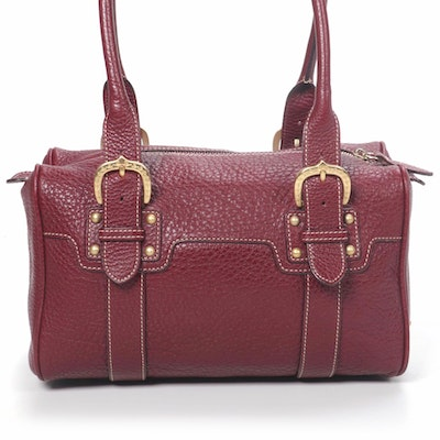 Dooney & Bourke Top Handle Bag in Burgundy Grained Leather