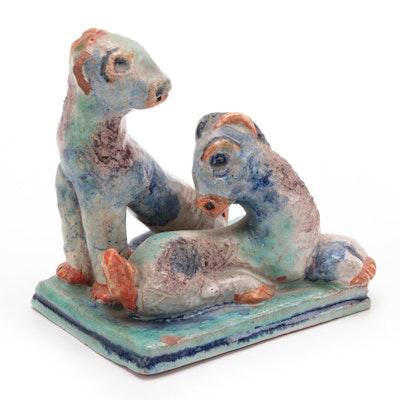 Gudrun Baudisch Wiener Werkstatte Terracotta Sculpture of Lambs