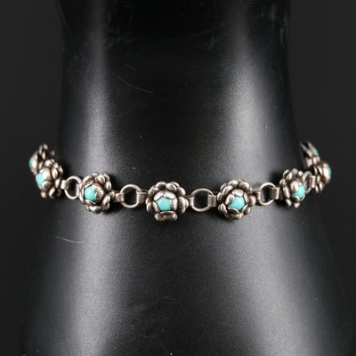 Mexican Sterling Silver Turquoise Floral Bracelet