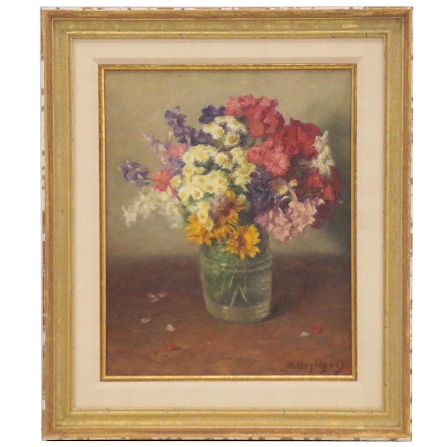 Hendrik Heyligers Floral Still Life Oil Painting, Early 20th Century