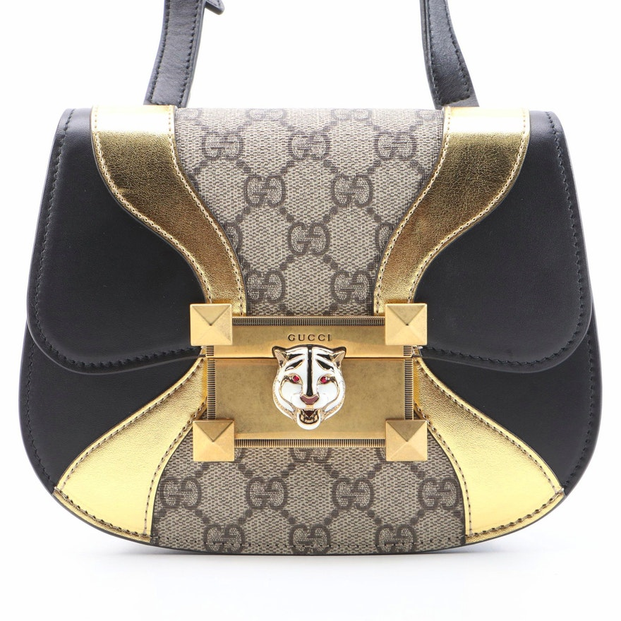 Gucci Osiride Crossbody Bag in GG Coated Canvas, Metallic and Smooth Leather