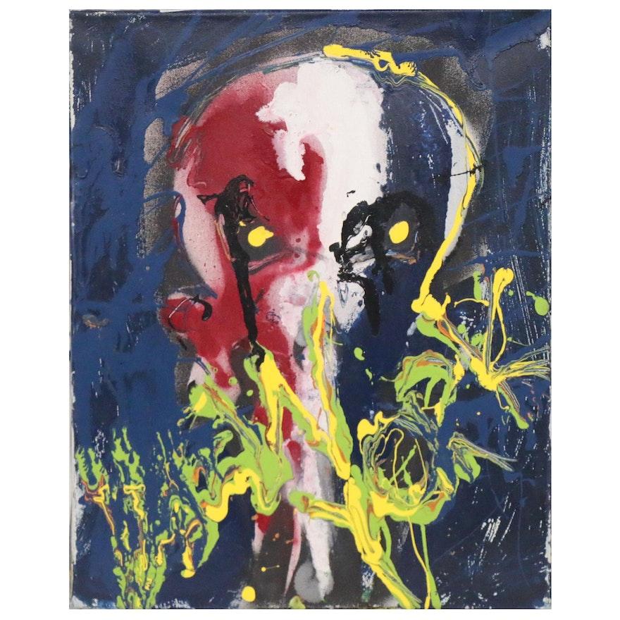 Abstract Acrylic Painting of Skull, 21st century