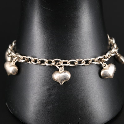 Sterling Puffed Heart Station Bracelet