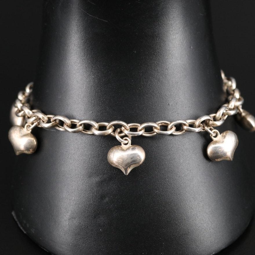 Sterling Puffed Heart Station Bracelet