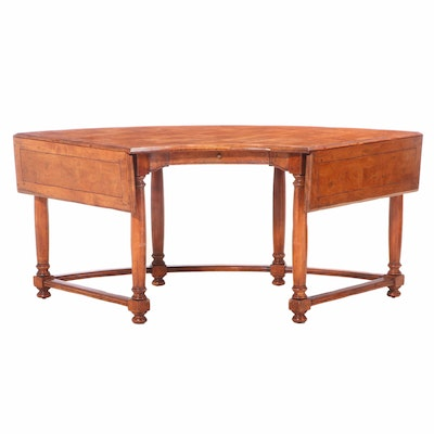"""The Sterling Collection """"Hunt"""" Mahogany Semi-Circle Desk w/ Drop Leaves, 21st C"""