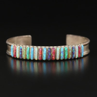 Southwestern Style Sterling Silver Artisan Signed Opal Cuff