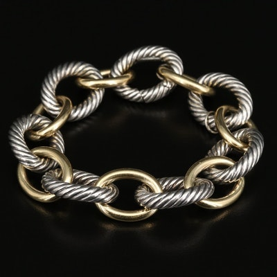 David Yurman Sterling Silver and Bonded 18K Oval Cable Link Bracelet