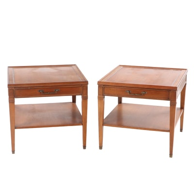 Pair of Hekman Federal Style Mahogany Tiered End Tables
