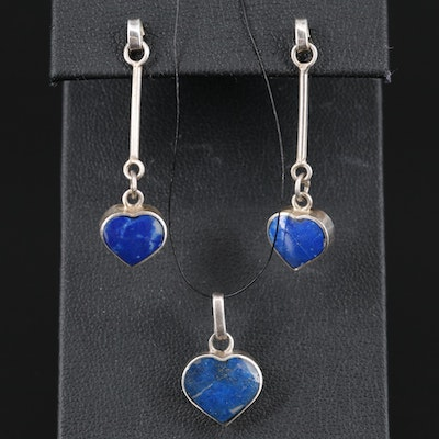 Sterling Malachite and Lapis Lazuli Heart Reversible Pendant and Earring Set