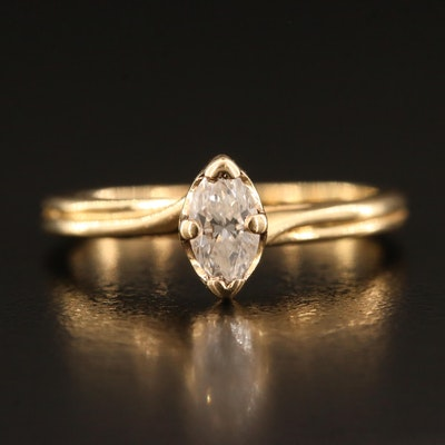 14K 0.33 CT Diamond Solitaire Ring with Twisted Head