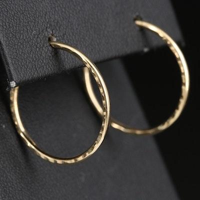 14K Hoop Earrings with Diamond Cut Accents